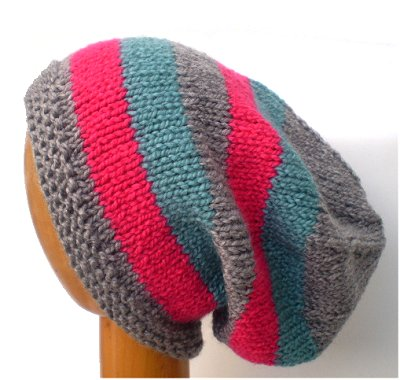Dreadz Hand Knitted Slouchy Striped Beanie Hat (AW-1815) (Grey/Pink/Aqua)