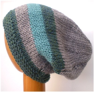 Dreadz Hand Knitted Slouchy Striped Beanie Hat (AW-1817) (Grey/Green/Aqua)