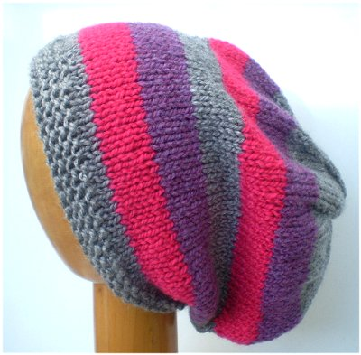 Dreadz Hand Knitted Slouchy Striped Beanie Hat (AW-1818) (Grey/Pink/Purple)