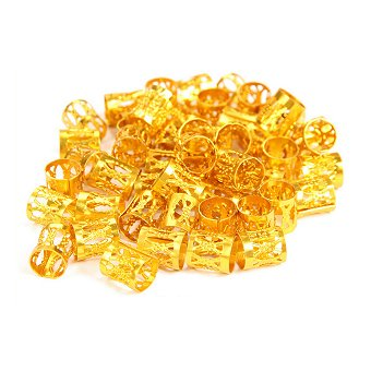 Dreadz Gold Adjustable Metal Tube Cuff Dreadlock Hair Beads (7mm Hole) x 5 Bead Pack