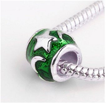 Dreadz Silver and Green Enamel Moon and Stars Barrel Hair Beads (5.3mm Hole) x 1 Bead