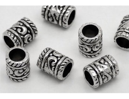 Dreadz Silver Tube Dreadlock Hair Beads (5mm Hole) x 3 Bead Pack