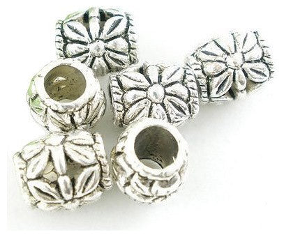 Dreadz Silver Floral Barrel Dreadlock Hair Beads (5mm Hole) x 3 Bead Pack