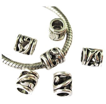Dreadz Silver Tube Dreadlock Hair Bead (Hole 5mm) x 3 Beads