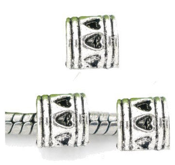 Dreadz Small Silver Heart Detail Tube Dreadlock Hair Beads (5mm Hole) x 3 Bead Pack