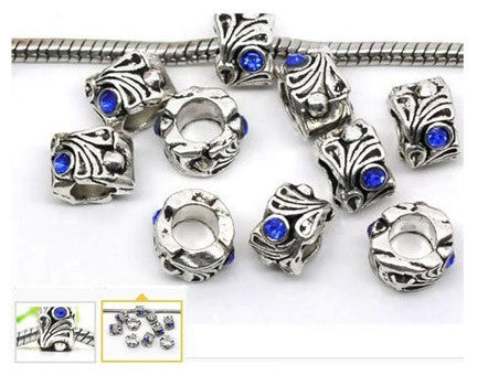 Dreadz Silver and Blue Jewel Dreadlock Hair Beads (5mm Hole) x 3 Bead Pack