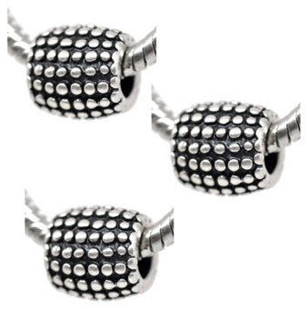 Dreadz Antique Silver Dotted Barrel Dreadlock Hair Beads (5mm Hole) x 3 Bead Pack