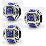 Dreadz Blue & Silver Polyhedron Dreadlock Hair Beads (5mm Hole) x 3 Bead Pack