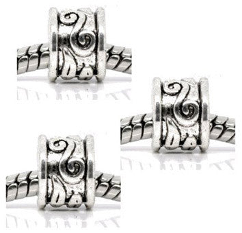 Dreadz Silver Scroll Pattern Dreadlock Hair Beads (5mm Hole) x 3 Bead Pack