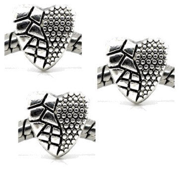 Dreadz Silver Heart Dreadlock Hair Beads (5mm Hole) x 3 Bead Pack