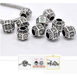 Dreadz Antique Silver Clear Rhinestone Polyhedron Hair Beads (5mm Hole) x 3 Bead Pack