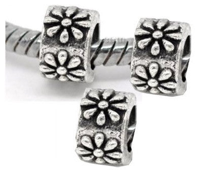 Dreadz Silver Flower Dreadlock Hair Beads (5mm Hole) x 3 Bead Pack