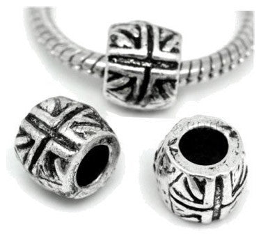 Dreadz Silver Union Jack Dreadlock Hair Beads (5mm Hole) x 3 Bead Pack