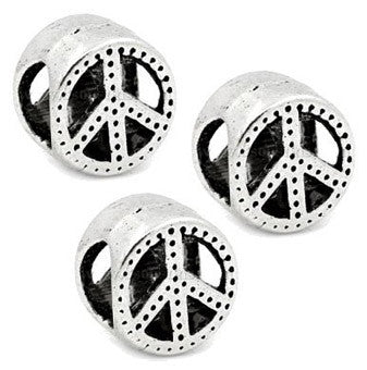 Dreadz Silver Peace Dreadlock Hair Beads (5mm Hole) x 3 Bead Pack
