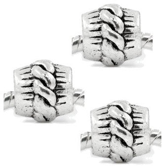 Dreadz Silver Rope Detail Barrel Dreadlock Hair Beads (5mm Hole) x 3 Bead Pack