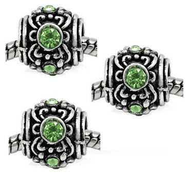 Dreadz Silver with Green Jewel Drum Dreadlock Hair Beads (5mm Hole) x 3 Bead Pack