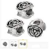Dreadz Antique Silver Carved Rose Dreadlock Hair Beads (5mm Hole) x 3 Bead Pack
