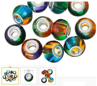 Dreadz Round Glass Multi Colour Dreadlock Hair Beads (5mm Hole) x 3 Bead Pack