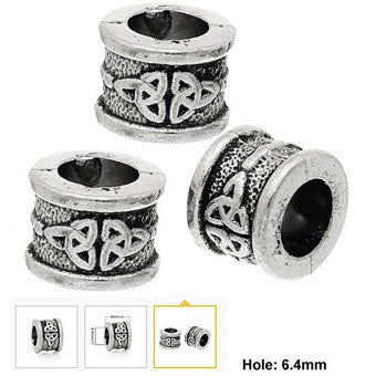 Dreadz Antique Silver Celtic Knot Dreadlock Hair Beads (6.4mm Hole) x 3 Bead Pack