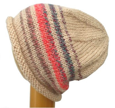 4b0eb73e2f9 Rolled Brim Slouchy Beanie Hat (BE-13) Cream   Blue Red Mix – Dreadz
