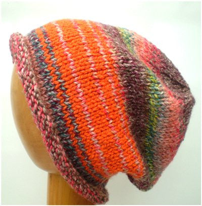 Dreadz Rolled Brim Slouchy Beanie Hat (BE-9) Pink & Orange