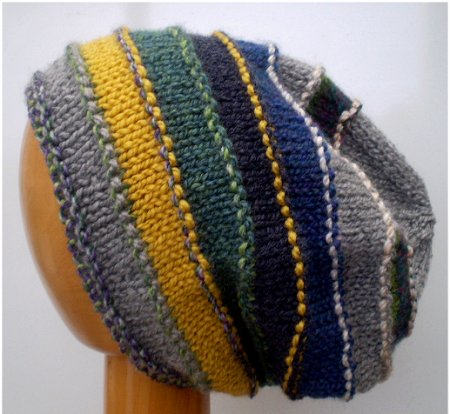 A Green / Yellow / Grey Mix Hand Knitted Slouchy Rolled Brim Beanie Hat, displayed on a wooden mannequin's head, shown against a light grey background