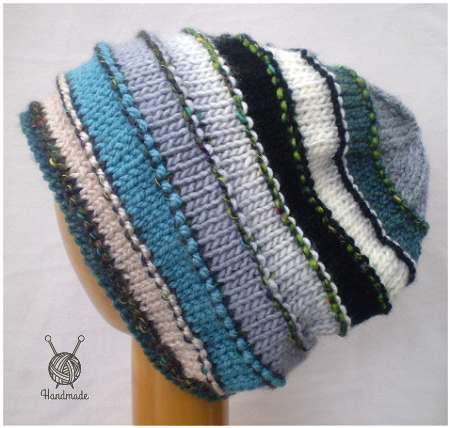 Dreadz Hand Knitted Slouchy Rolled Brim Beanie Hat (Blue/Grey Mix) DR_40X