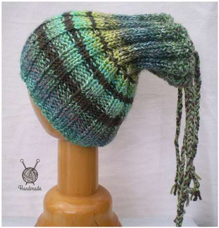 Dreadz Ribbed Open Top Dreadfall Beanie Hat (Green/Brown Mix) (DR_42) side view