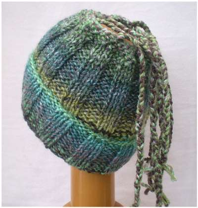 Dreadz Ribbed Open Top Dreadfall Beanie Hat (Green/Brown Mix) (DR_42) folded brim rear view