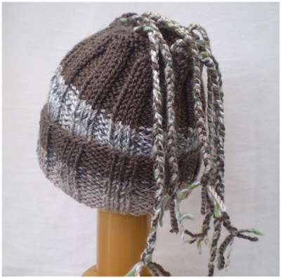 Dreadz Ribbed Open Top Dreadfall Beanie Hat (Brown Mix) (DR_44) folded brim rear view