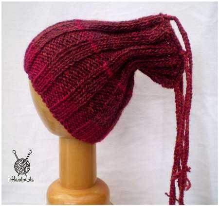 Dreadz Ribbed Open Top Dreadfall Beanie Hat (Red Mix) (DR_47) side view