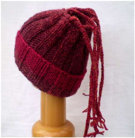 Dreadz Ribbed Open Top Dreadfall Beanie Hat (Red Mix) (DR_47) folded brim rear view