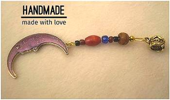 Dreadz Purple + Gold Enamel Moon Dangle Dreadlock Hair Bead (5mm Hole) (EN-4) x 1