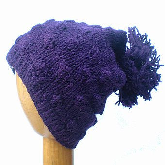 Dreadz Fair Trade Fleece Lined Slouch Beanie Hat with Bobble (Purple)