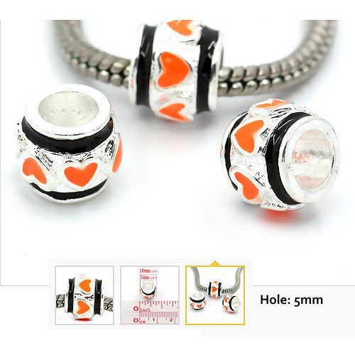 Dreadz Silver with Orange + Black Enamel Heart Hair Beads (5mm Hole) x 3 Bead Pack