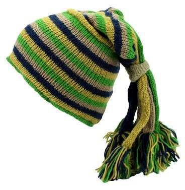 Fair Trade Hippie Tassel Fleece Lined Slouch Beanie Hat (LE-1) (Green/Navy)