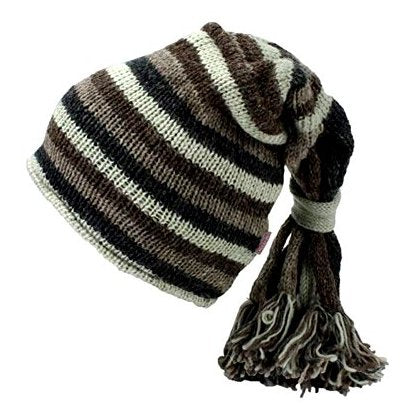 Fair Trade Hippie Tassel Fleece Lined Slouch Beanie Hat (LE-5) (Grey/White/Black/Brown)