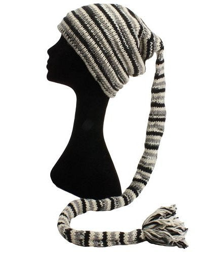 Fair Trade Wool Knit Tail Fleece Lined Beanie Hat (LE-6) (Black/Grey/White)