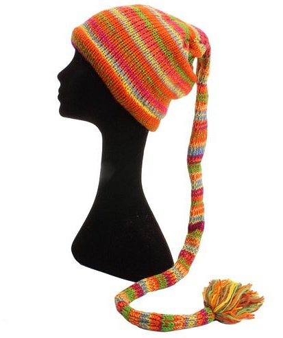 Fair Trade Wool Knit Tail Fleece Lined Beanie Hat (LE-7) (Bright)