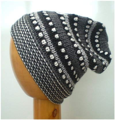 Fair Trade Hand Knit Alpaca Beanie Hat (PE-01) (Black/Grey)