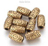 Dreadz Gold Acrylic Tribal Dreadlock Hair Beads (5mm Hole) x 2 Bead Pack