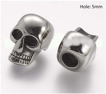 Dreadz Silver SKULL Hair Beads (5mm Hole) x 1 Bead