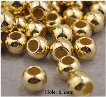 Dreadz Gold Metal Round Hair Beads (6.5mm Hole) x 3 Bead Pack