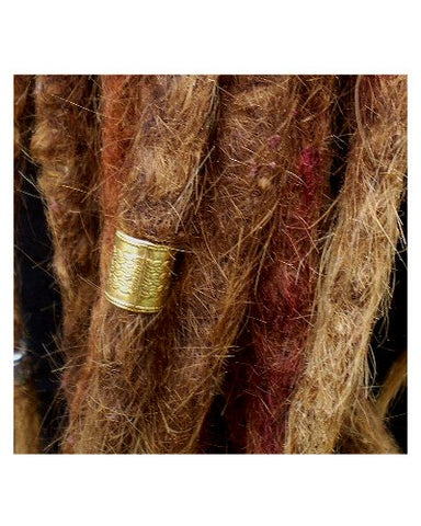 Dreadz Antique Gold Twist Pattern Large Hair Beads 10mm Hole x 1 Bead
