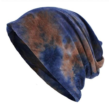 A Dreadz Tie Dye Blue/Brown coloured 3-in-1 Multi-Function Tubular Beanie, Headwrap, Neckwarmer shown against a white background