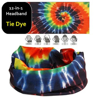 12 in 1 Multi-Function Tubular Headband / Headwear (Tie Dye - Multi)