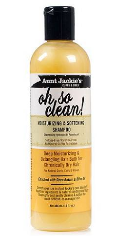 Bottle of 355 millilitre Aunt Jackie's Oh So Clean Moisturizing & Softening Shampoo shown against a white background