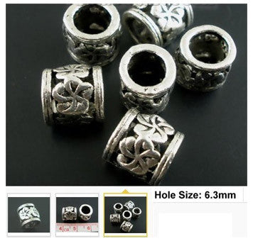 Dreadz Antique Silver Floral Dreadlock Hair Beads (6.3mm Hole) x 3
