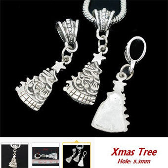 Dreadz Antique Silver Christmas Tree Dangle Dreadlock Hair Beads (5.3mm Hole) x 1 Bead