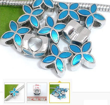 Dreadz Blue Enamel Petals Style Dreadlock Hair Beads (5mm Hole) x 1
